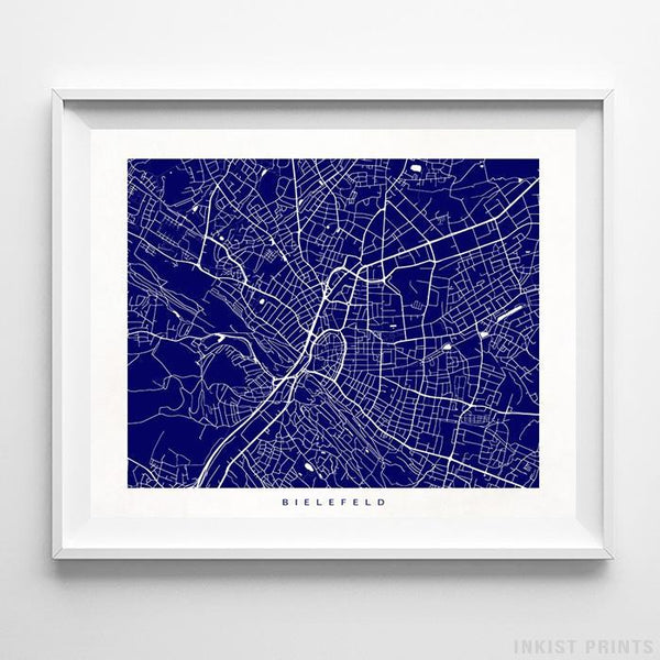 Bielefeld, Germany Street Map Horizontal Print-Poster-Wall_Art-Home_Decor-Inkist_Prints