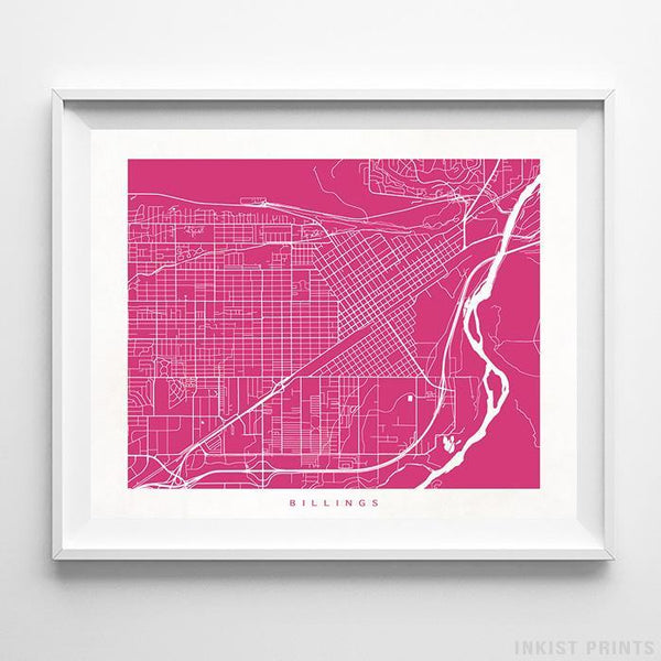 Billings, Montana Street Map Horizontal Print-Poster-Wall_Art-Home_Decor-Inkist_Prints