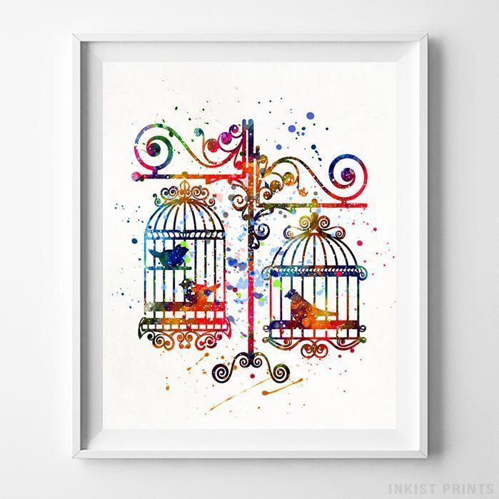 Birds in Cages Print-Poster-Wall_Art-Home_Decor-Inkist_Prints