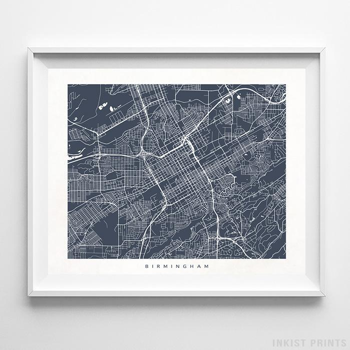 Birmingham, Alabama Street Map Horizontal Print-Poster-Wall_Art-Home_Decor-Inkist_Prints