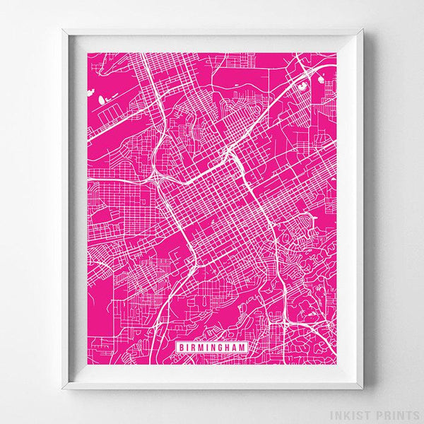 Birmingham, Alabama Street Map Vertical Print-Poster-Wall_Art-Home_Decor-Inkist_Prints