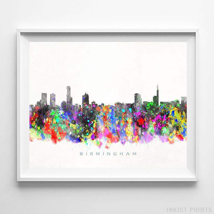 Birmingham, England Skyline Watercolor Print-Poster-Wall_Art-Home_Decor-Inkist_Prints