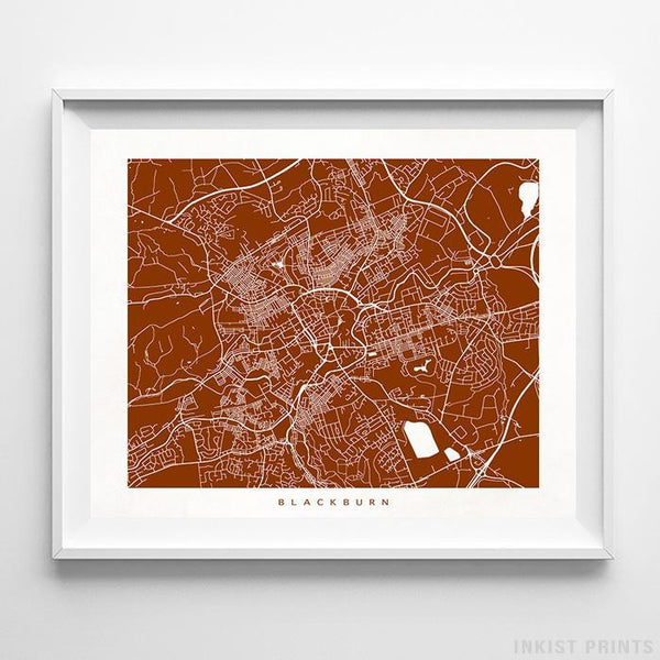 Blackburn, England Street Map Horizontal Print-Poster-Wall_Art-Home_Decor-Inkist_Prints
