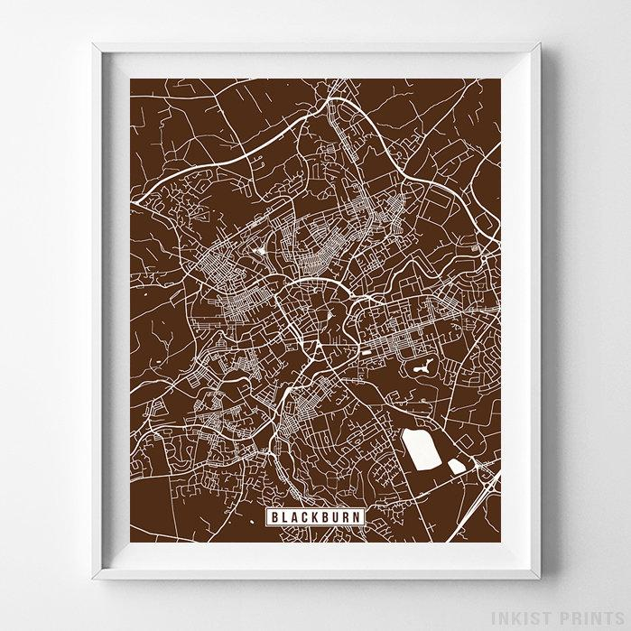 Blackburn, England Street Map Vertical Print-Poster-Wall_Art-Home_Decor-Inkist_Prints
