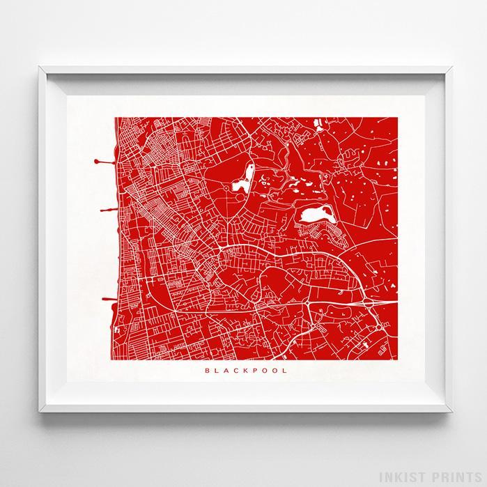 Blackpool, England Street Map Horizontal Print-Poster-Wall_Art-Home_Decor-Inkist_Prints