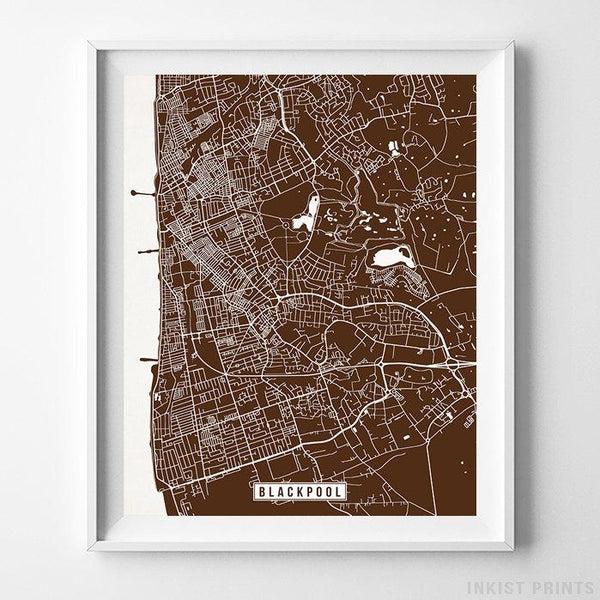 Blackpool, England Street Map Vertical Print-Poster-Wall_Art-Home_Decor-Inkist_Prints