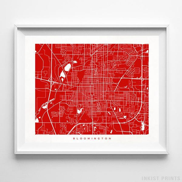 Bloomington, Illinois Street Map Horizontal Print-Poster-Wall_Art-Home_Decor-Inkist_Prints