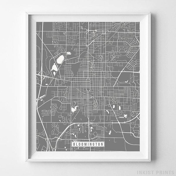 Bloomington, Illinois Street Map Vertical Print-Poster-Wall_Art-Home_Decor-Inkist_Prints