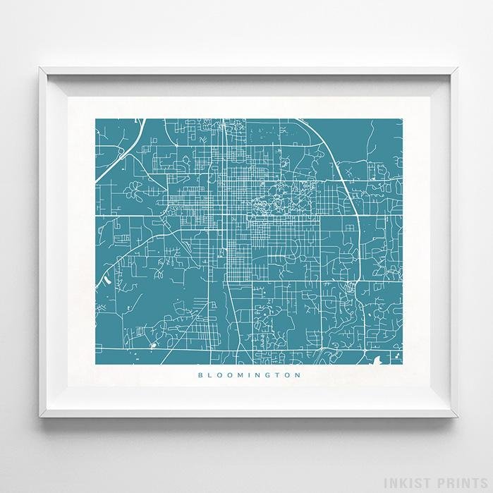 Bloomington, Indiana Street Map Print Poster - Inkist Prints