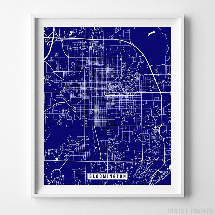 Bloomington, Indiana Street Map Vertical Print-Poster-Wall_Art-Home_Decor-Inkist_Prints