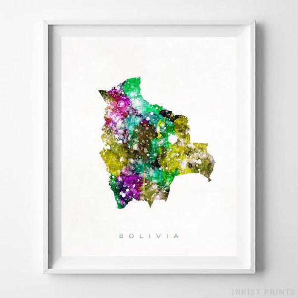 Bolivia Watercolor Map Print - Inkist Prints