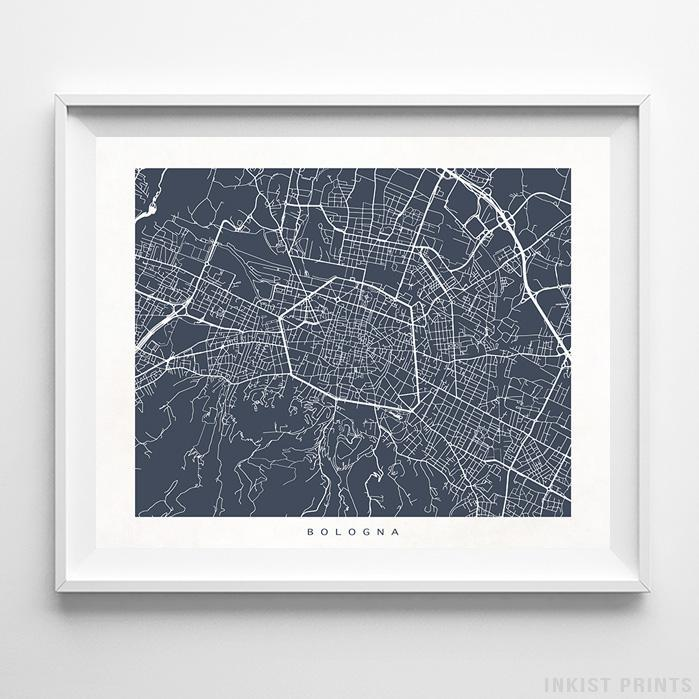 Bologna, Italy Street Map Horizontal Print-Poster-Wall_Art-Home_Decor-Inkist_Prints