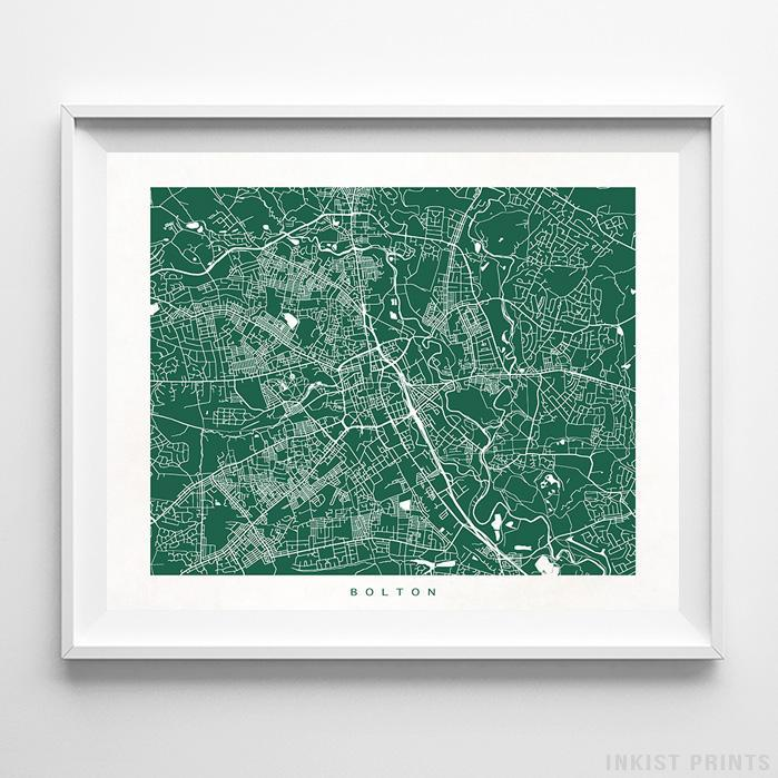 Bolton, England Street Map Print Poster - Inkist Prints