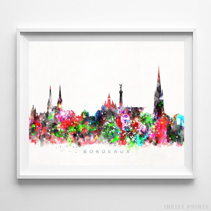 Bordeaux, France Skyline Watercolor Print-Poster-Wall_Art-Home_Decor-Inkist_Prints
