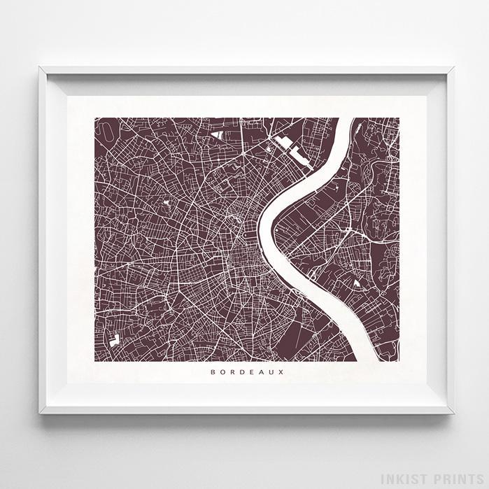 Bordeaux, France Street Map Horizontal Print-Poster-Wall_Art-Home_Decor-Inkist_Prints