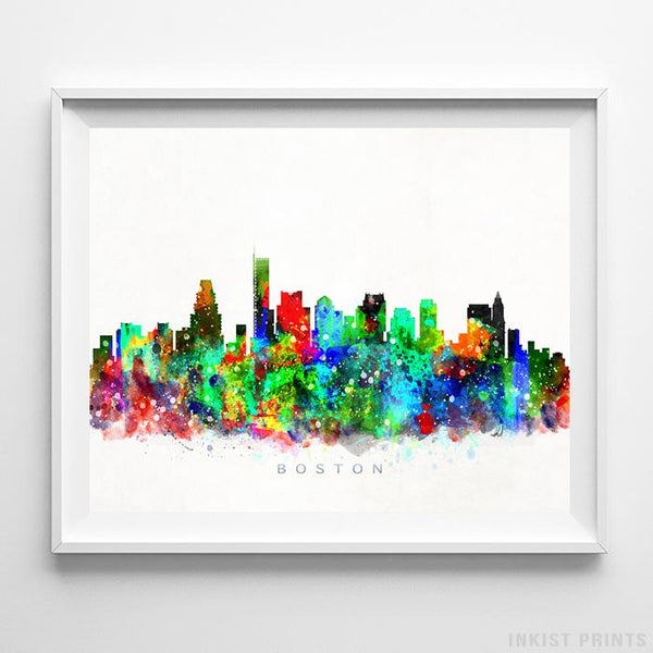 Boston, Massachusetts Skyline Watercolor Print-Poster-Wall_Art-Home_Decor-Inkist_Prints