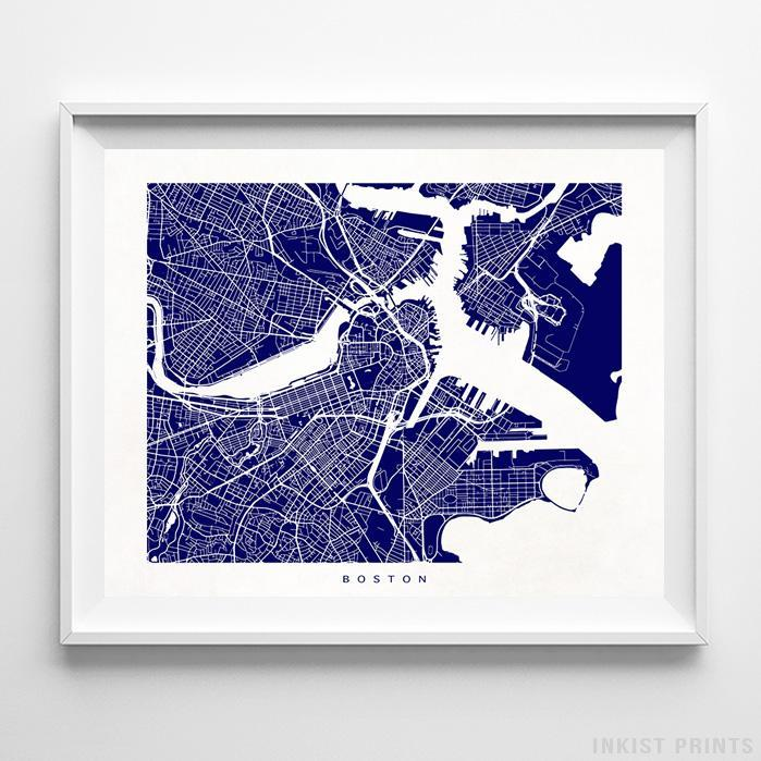 Boston, Massachusetts Street Map Print Poster - Inkist Prints