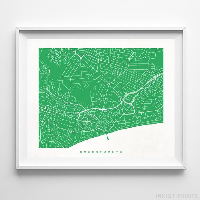 Map Of England Poster.Bournemouth England Street Map Horizontal Print