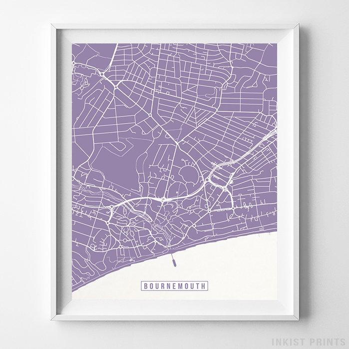 Map Of England Poster.Bournemouth England Street Map Vertical Print