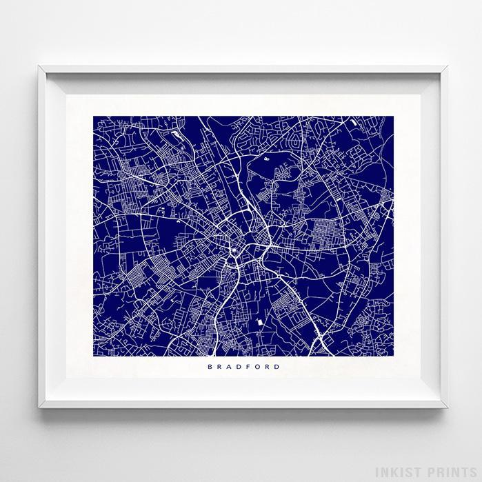 Bradford, England Street Map Horizontal Print-Poster-Wall_Art-Home_Decor-Inkist_Prints