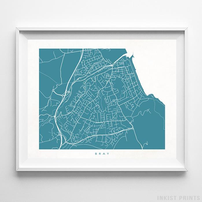 Bray, Ireland Street Map Horizontal Print-Poster-Wall_Art-Home_Decor-Inkist_Prints