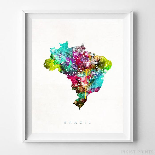 Brazil Watercolor Map Print - Inkist Prints