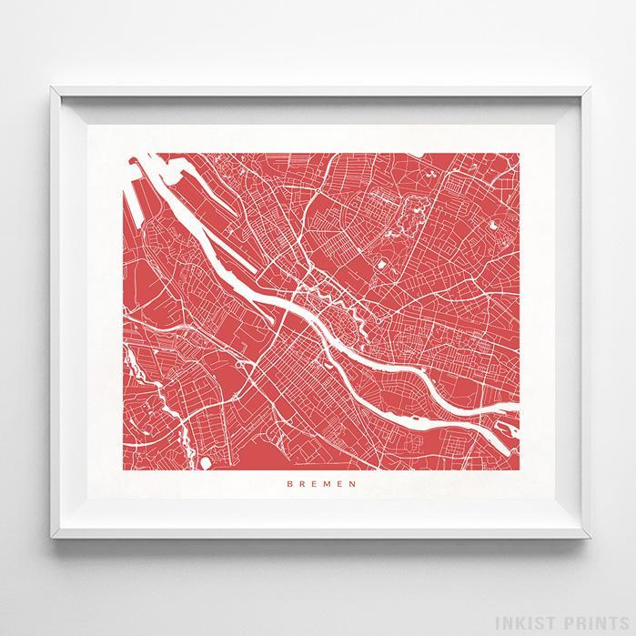 Bremen, Germany Street Map Horizontal Print-Poster-Wall_Art-Home_Decor-Inkist_Prints