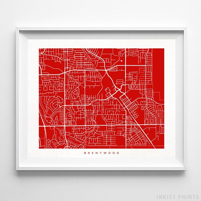 Brentwood, California Street Map Horizontal Print-Poster-Wall_Art-Home_Decor-Inkist_Prints