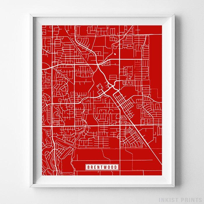 Brentwood, California Street Map Vertical Print-Poster-Wall_Art-Home_Decor-Inkist_Prints
