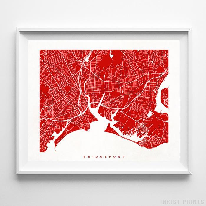 Bridgeport, Connecticut Street Map Horizontal Print-Poster-Wall_Art-Home_Decor-Inkist_Prints