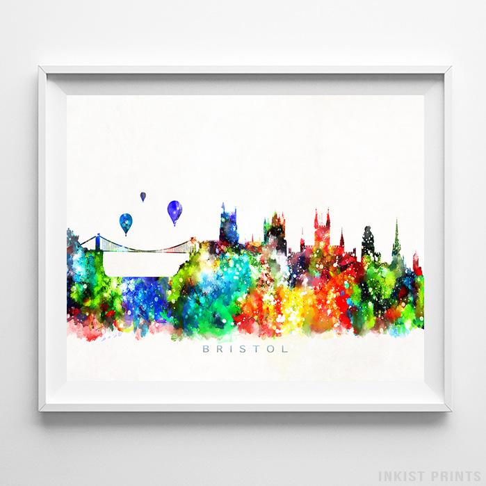 Bristol, England Skyline Watercolor Print - Inkist Prints