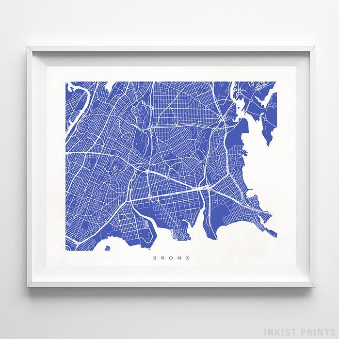 Bronx, New York Street Map Horizontal Print-Poster-Wall_Art-Home_Decor-Inkist_Prints