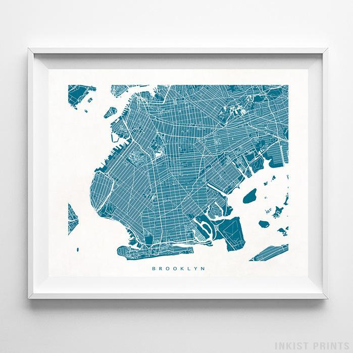 Brooklyn, New York Street Map Horizontal Print-Poster-Wall_Art-Home_Decor-Inkist_Prints