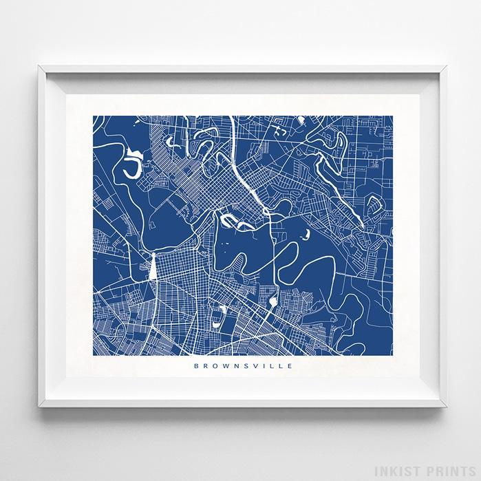 Brownsville, Texas Street Map Horizontal Print-Poster-Wall_Art-Home_Decor-Inkist_Prints