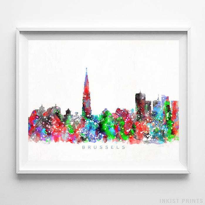 Brussels, Belgium Skyline Watercolor Print Wall Art Poster by Inkist Prints
