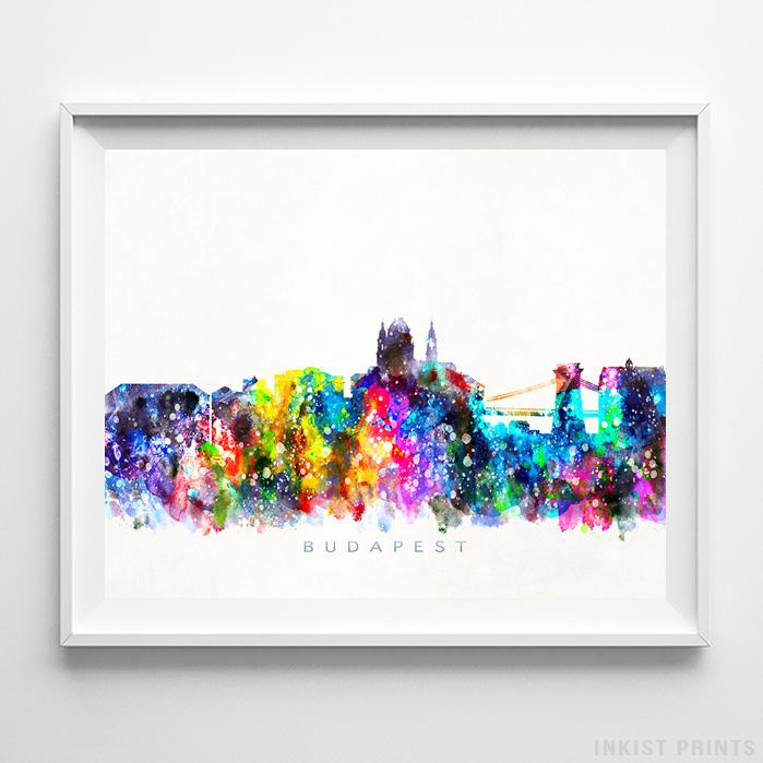 Budapest, Hungary Skyline Watercolor Print - Inkist Prints