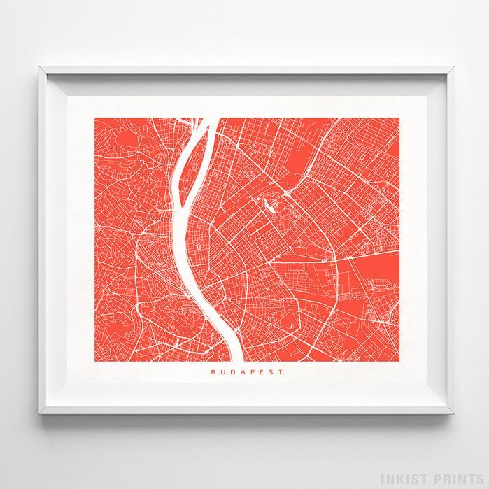 Budapest, Hungary Street Map Print Poster - Inkist Prints