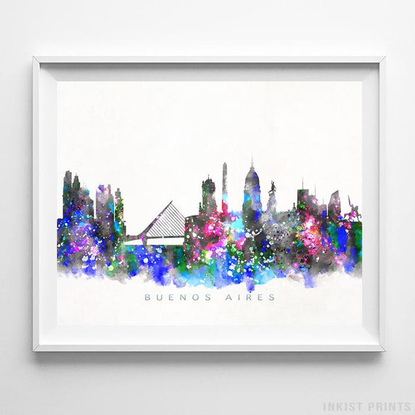 Bueno Aires, Argentina Skyline Watercolor Print-Poster-Wall_Art-Home_Decor-Inkist_Prints