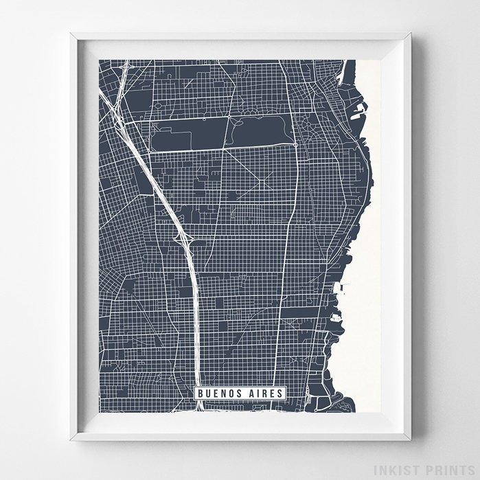 Buenos Aires, Argentina Street Map Vertical Print-Poster-Wall_Art-Home_Decor-Inkist_Prints