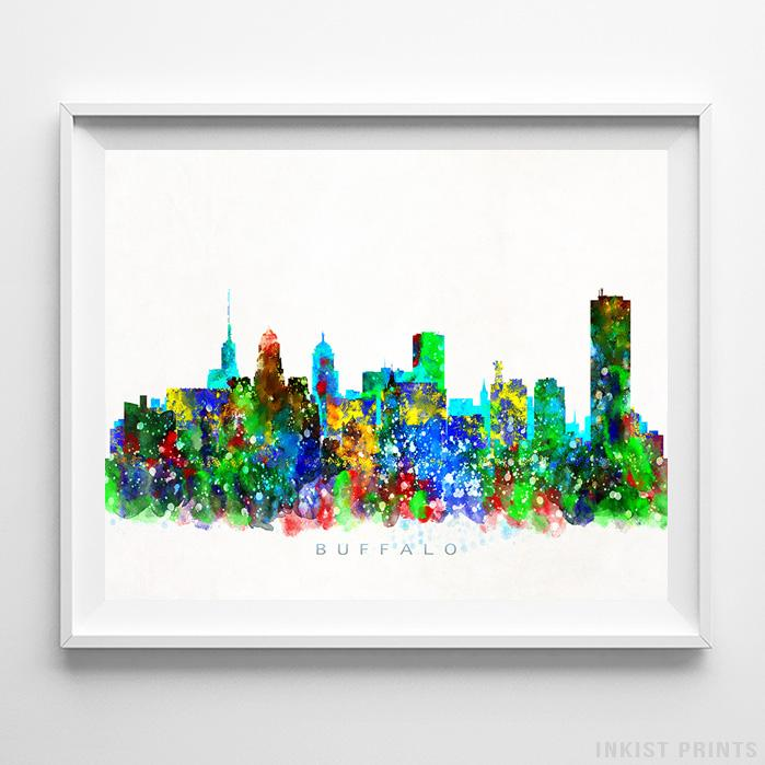 Buffalo, New York Skyline Watercolor Print Wall Art Poster by Inkist Prints