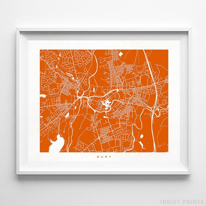 Bury, England Street Map Horizontal Print-Poster-Wall_Art-Home_Decor-Inkist_Prints