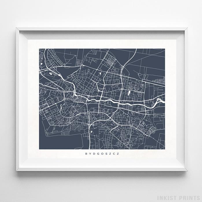 Bydgoszcz, Poland Street Map Horizontal Print-Poster-Wall_Art-Home_Decor-Inkist_Prints