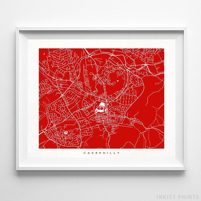 Caerphilly, United Kingdom Street Map Horizontal Print-Poster-Wall_Art-Home_Decor-Inkist_Prints