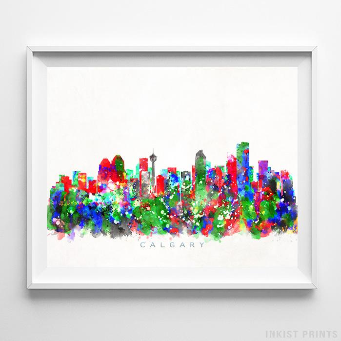 Calgary, Canada Skyline Watercolor Print-Poster-Wall_Art-Home_Decor-Inkist_Prints