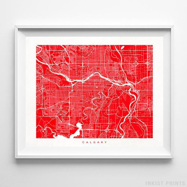 Calgary, Canada Street Map Horizontal Print-Poster-Wall_Art-Home_Decor-Inkist_Prints