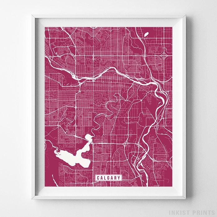 Calgary, Canada Street Map Vertical Print-Poster-Wall_Art-Home_Decor-Inkist_Prints