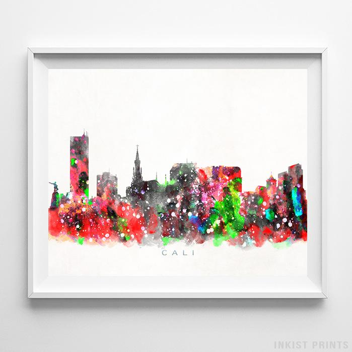 Cali, Colombia Skyline Watercolor Print-Poster-Wall_Art-Home_Decor-Inkist_Prints