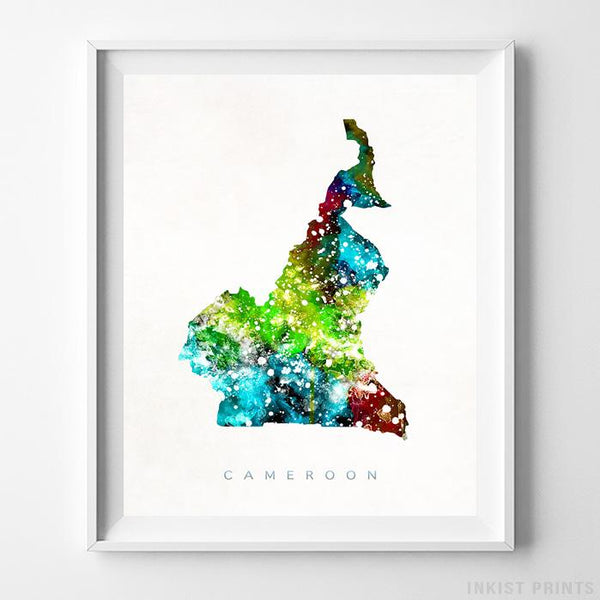 Cameroon Watercolor Map Print-Poster-Wall_Art-Home_Decor-Inkist_Prints