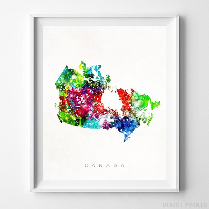 Canada Watercolor Map Print-Poster-Wall_Art-Home_Decor-Inkist_Prints