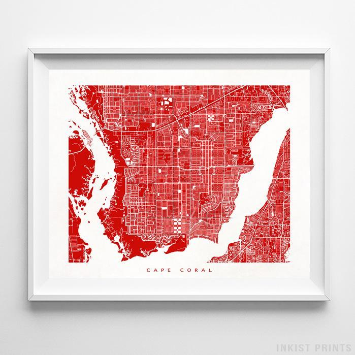 Cape Coral, Florida Street Map Horizontal Print-Poster-Wall_Art-Home_Decor-Inkist_Prints